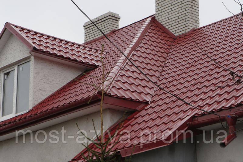 Металлочерепица цвет вишневая RAL 3005, крыша металлочерепица вишня, бордовая, гнилая вишня РАЛ 3005