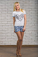 Пижама с шортами трикотажная белая