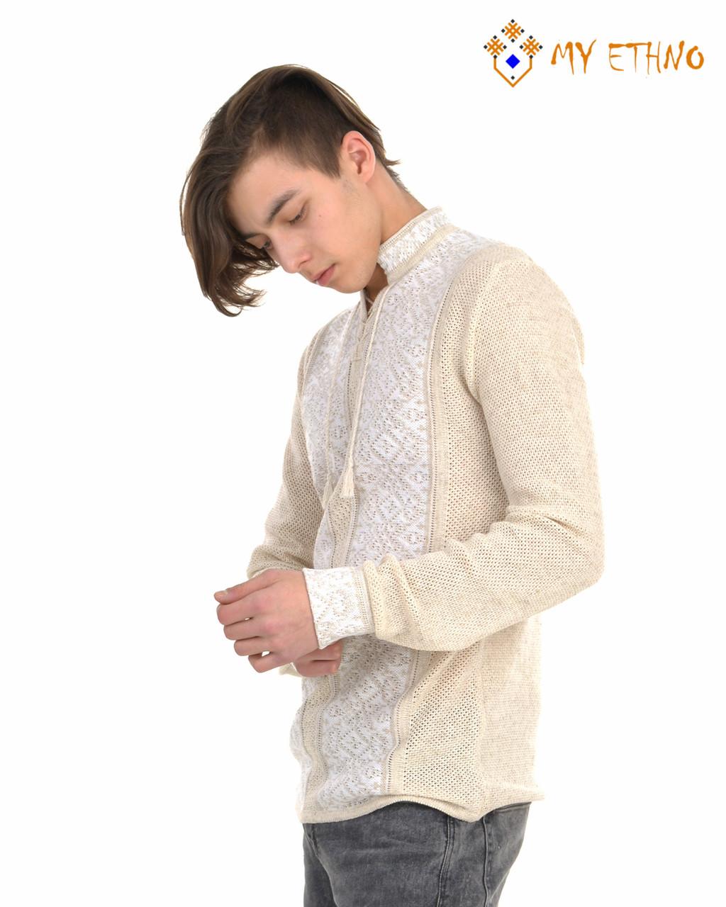 Мужская вязаная рубашка Роман белый