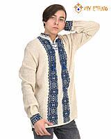 Мужская вязаная рубашка Руслан темно-синий, фото 1