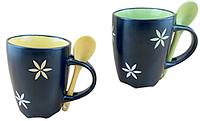 Керамическая кружка с ложкой в подарочной упаковке, оригинальное дно в виде цветка VBN 210004, 330мл