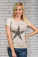 Женская  футболка с печатью Звезда беж