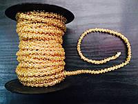 Шнур в бисере золото,толщина 4мм, 10 м в рулоне