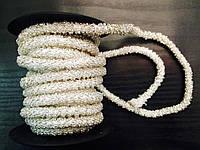 Шнур в бисере серебро,толщина 6мм, 4,7м в рулоне