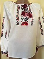 Біла вишиванка для дівчинки ручної роботи 9-10 років