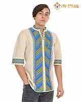 Мужская вязаная рубашка Лесенка желто-голубая (короткий рукав), фото 1