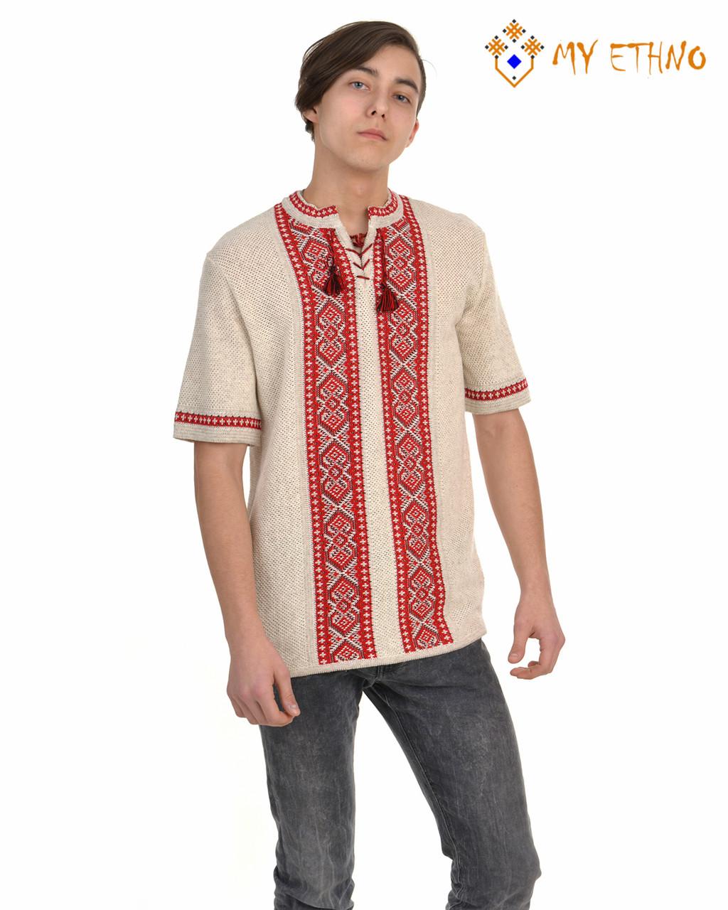 Мужская вязаная рубашка Крестики красные (короткий рукав)