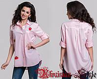 Женская молодежная блуза-рубашка с нашивками