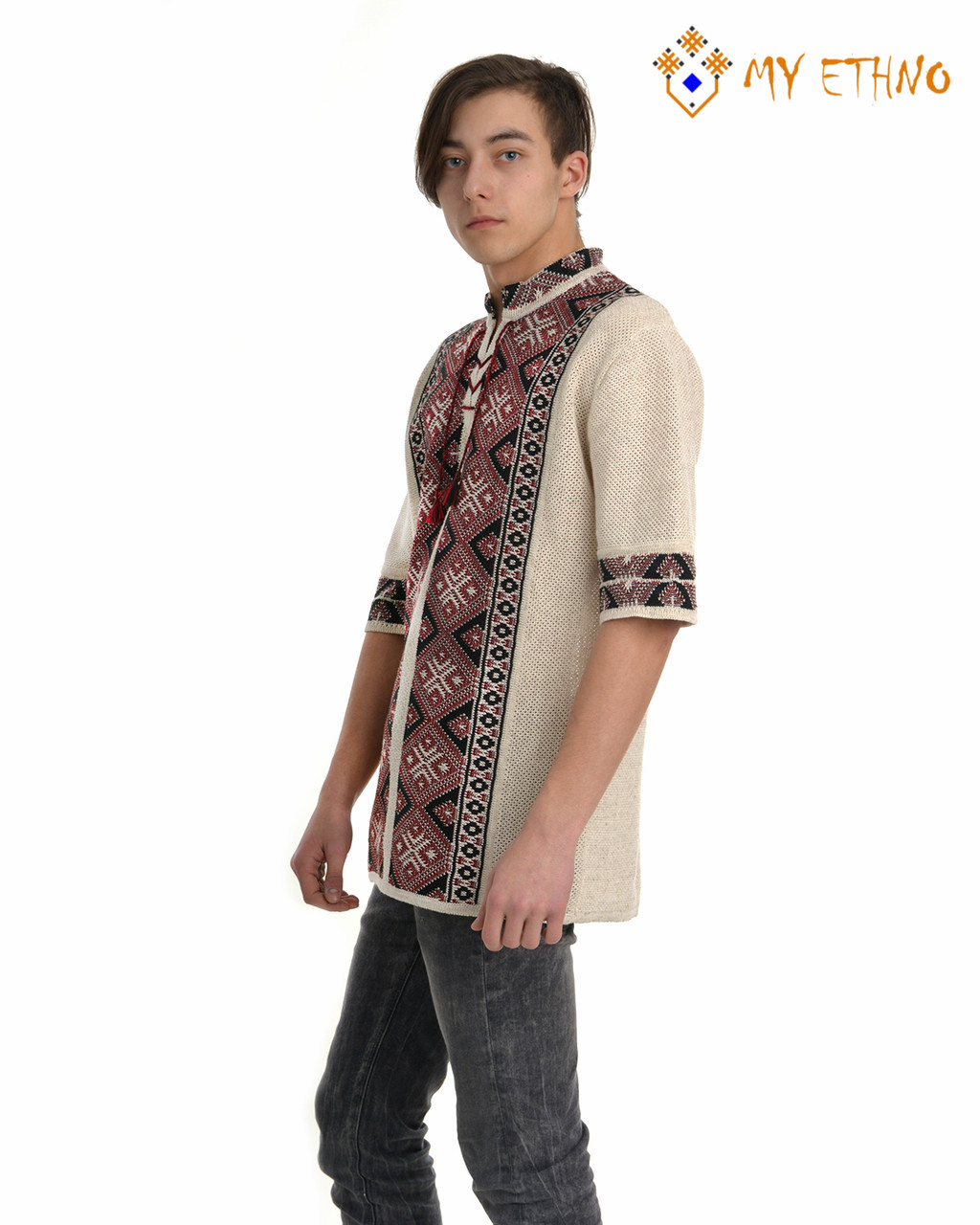 Мужская вязаная рубашка Назар черный (короткий рукав)