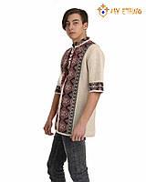 Мужская вязаная рубашка Назар черный (короткий рукав), фото 1