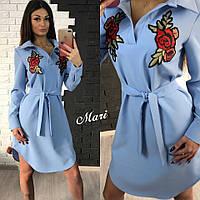 """Платье-рубашка с вышивкой """"Цветы"""" 3 цвета 2SMmil1236"""