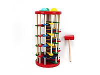 Деревянная игрушка Стучалка молоточек, шарики, QZM-0205