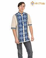 Мужская вязаная рубашка Назар синий (короткий рукав)