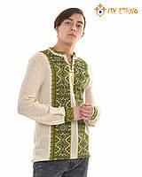 Мужская вязаная рубашка Влад зелёный, фото 1