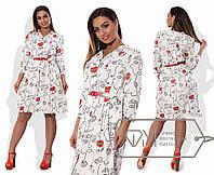 Платье на пышную фигуру с ярким ремешком