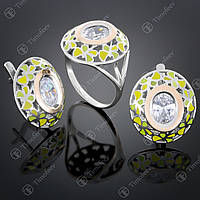 Серебряный набор украшений с цирконием. Артикул А-390