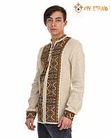 Мужская вязаная рубашка Влад коричневый, фото 1