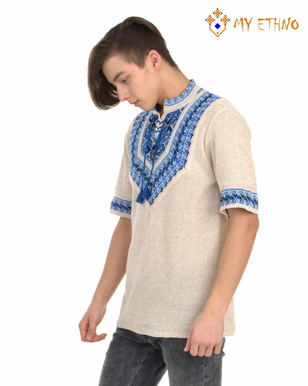 Мужская вязаная рубашка Полуботок ультра (короткий рукав)