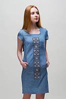 Платье с вышивкой Орнамент на джинсе
