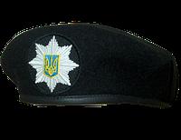 Берет Капля черный с кокардой  вышитой «Полиция»