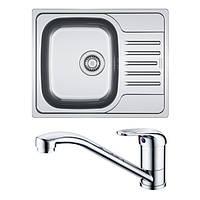 Кухонная мойка из нержавеющей стали Franke Polar PXL 611-60, декор + смеситель Franke Narew 35 Plus