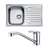 Кухонная мойка из нержавеющей стали Franke Polar PXL 611-78, декор + смеситель Franke Narew 35 Plus