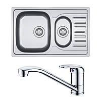 Кухонная мойка из нержавеющей стали Franke Polar PXL 651-78, декор + смеситель Franke Narew 35 Plus