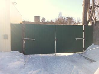 Автоматика Nice Toona 4016 на широкие распашные ворота из профнастила