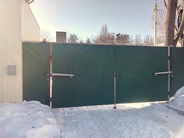 Автоматика для распашных ворот Nice To 4016 (Toona), монтаж комплекта приводов на ворота из профнастила