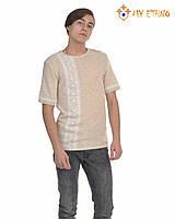 Мужская вязаная рубашка Белая полоска (короткий рукав), фото 1