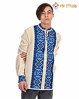 Мужская вязаная рубашка Влад синий, фото 1