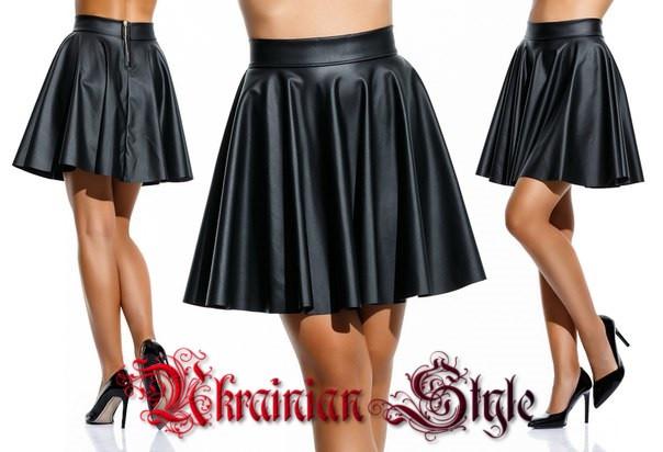 7b80fbdeb83 Женская короткая кожаная юбка клеш. - Интернет-магазин