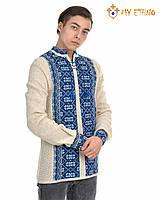 Мужская вязаная рубашка Карпаты синие, фото 1