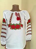 """Блуза вишита для дівчинки в етно стилі """"Червоні троянди"""", фото 1"""