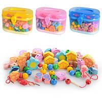 Деревянная игрушка Шнуровка MD 0686 3 цвета, в пластиковом чемодане 17,5-12,5-9,5 см
