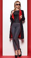 Женское двустороннее пальто-кардиган черного цвета на пуговице. Модель 378.