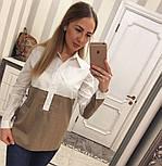 Женская стильная двухцветная удлиненная рубашка (2 цвета), фото 2