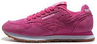 Женские кроссовки Reebok Classic Suede Pink (в стиле Рибок) розовые