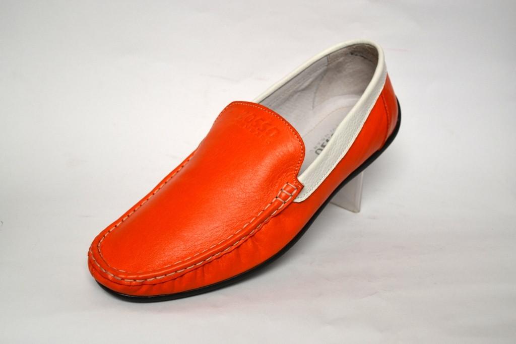 Мокасины мужские кожаные оранжевые натуральные Rosso Avangard Guerin Linewhite M4 Buccia d'arancia