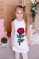 Нарядное детское платье  Роза TM Brendinno, 5 размеров, белое