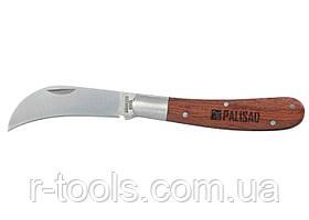 Нож садовый 170 мм складной изогнутое лезвие деревянная рукоятка PALISAD 790018