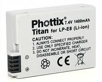 Аналог Canon LP-E8 (Phottix Titan Premium 1020mAh). Аккумулятор для Canon EOS 550D, 600D, 650D