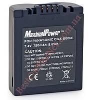 Аналог Panasonic CGA-S006/S006E (MaximalPower 750mAh). Аккумулятор для Panasonic DMC- FZ50/FZ18/FZ28/FZ8/FZ7/FZ30