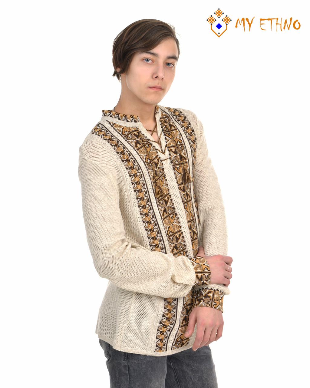 Мужская вязаная рубашка Полуботок коричневый вертикальный