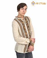 Мужская вязаная рубашка Полуботок коричневый вертикальный, фото 1