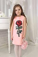 Нарядное детское платье  Роза TM Brendinno, 5 размеров, розовое