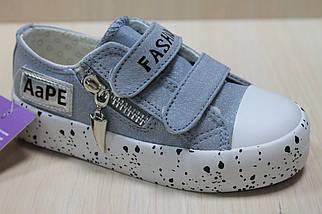 Кеды для подростков джинсовые криперы на двух липучках цвета серебро тм Том.м р.28, фото 3