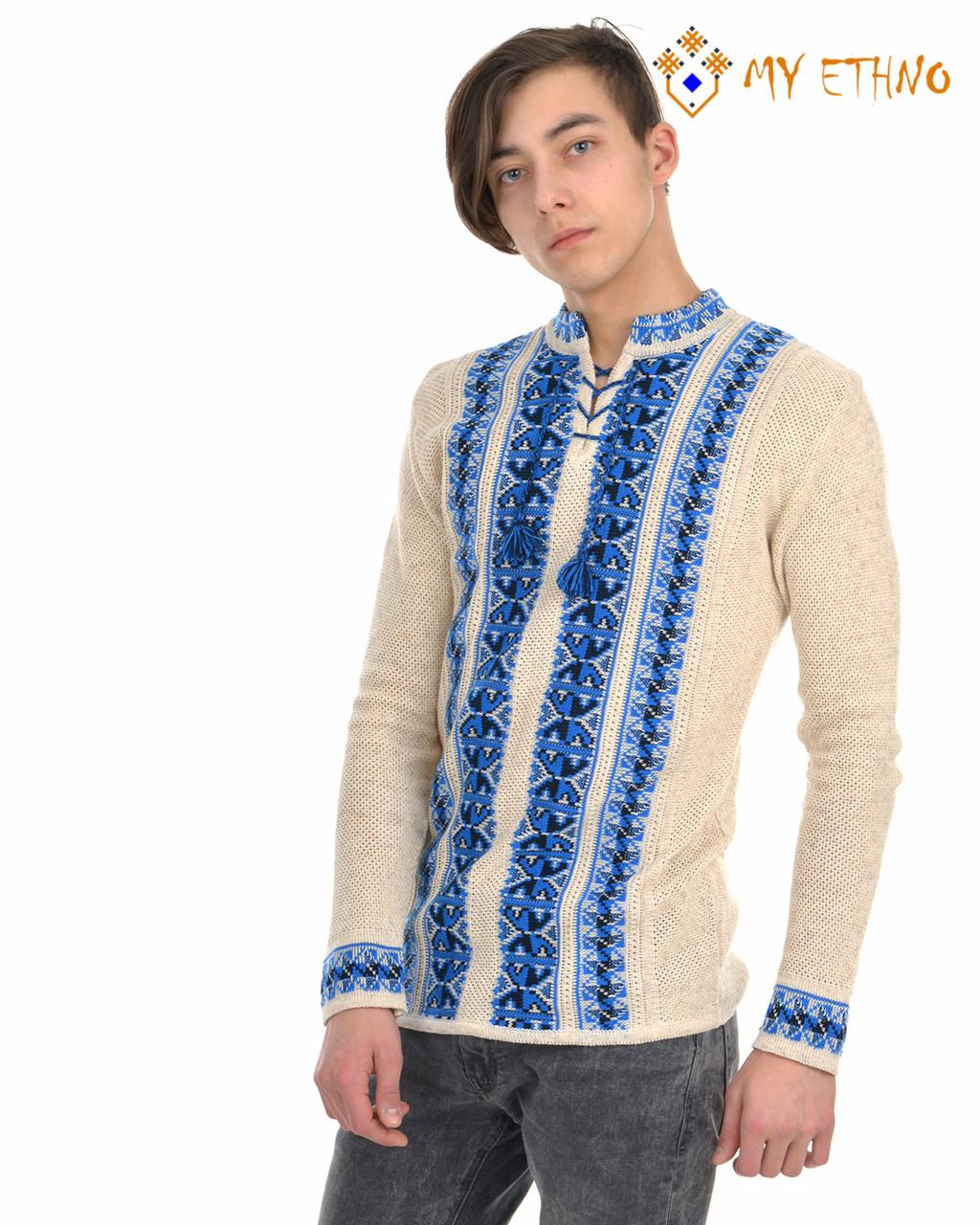 Мужская вязаная рубашка Полуботок синий вертикальный