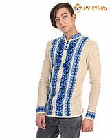 Мужская вязаная рубашка Полуботок синий вертикальный, фото 1