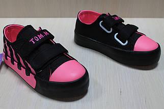 Модные детские кеды криперы на двух липучках для девочки цвет черный с розовым тм Том.м р.26, фото 2
